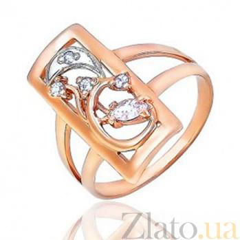 Золотое кольцо прямоугольное с цирконием Богиня времени EDM--КД0438
