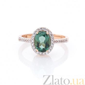 Золотое кольцо Федерика с зеленым кварцем и дорожкой из белых фианитов 000082340