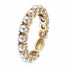 Кольцо в желтом золоте Ангелина с жемчугом