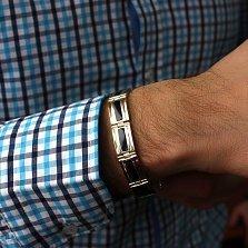 Серебряный браслет с золотыми вставками и ониксом Султан