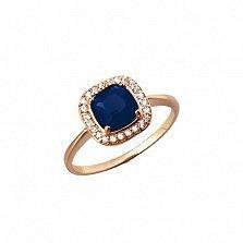 Кольцо из красного золота Мирабель с синим агатом и фианитами