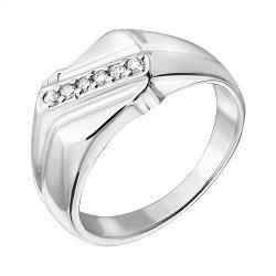 Серебряный перстень с бриллиантами Лео
