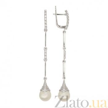 Серьги-подвески из белого золота с жемчугом Бьянка VLT--ТТ2413