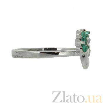 Серебряное кольцо с бриллиантами и изумрудами Сильва ZMX--RDE-6488-Ag_K