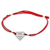 Шелковый браслет Superman с серебряной вставкой