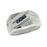 Серебряный перстень с бриллиантами и сапфирами Эрис