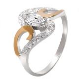 Серебряное кольцо с золотой вставкой и цирконием Соломия