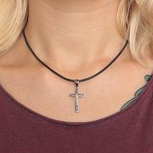 Серебряный крест Небесный спаситель с черной эмалью