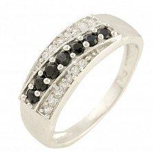 Серебряное кольцо Тамара с сапфирами и фианитами