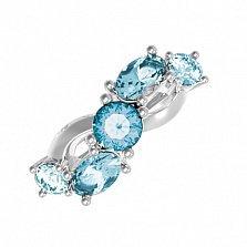 Серебряное кольцо Деми с голубым кварцем и фианитами