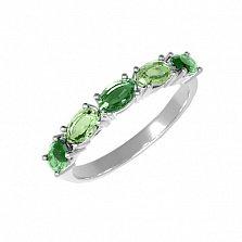 Серебряное кольцо Паула с зелеными агатом и кварцем