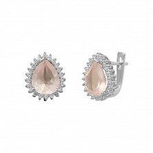 Серебряные серьги Фелиция с розовым кварцем и фианитами
