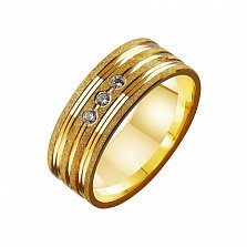 Золотое обручальное кольцо Супружеская верность с фианитами