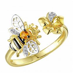 Кольцо из желтого золота Пчелка с бриллиантами и цитрином