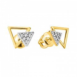 Серьги-пуссеты из желтого золота с фианитами 000103839