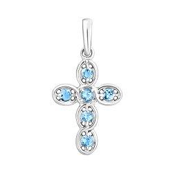 Золотой декоративный крестик Небесная гладь в белом цвете с голубыми топазами