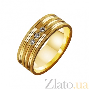 Золотое обручальное кольцо Супружеская верность с фианитами TRF--4121624