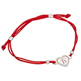 Шелковый браслет Сердце Б с серебряной вставкой
