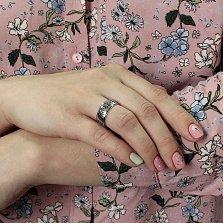 Серебряное обручальное кольцо с сапфирами Вышиванка