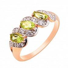 Кольцо в комбинированном цвете золота с хризолитами, фианитами и родированием 000131338