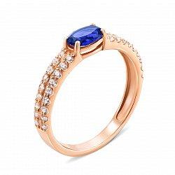 Кольцо из красного золота с сапфиром и фианитами 000135281