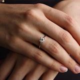 Золотое кольцо в белом цвете с бриллиантом Жизель
