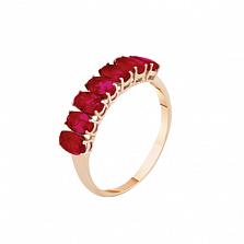 Золотое кольцо Магда с рубинами