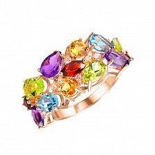 Золотое кольцо Красочное лето с гранатом, топазом, хризолитом, аметистом, цитрином и фианитами