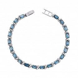 Серебряный браслет с кварцем под голубой топаз и фианитами 000136491