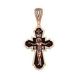 Крестик из красного золота с чернением 000103808