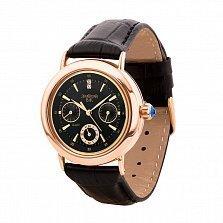 Часы из красного золота с фианитами и ремешком из синтетической кожи 000135474