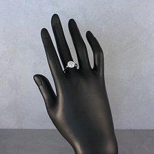 Серебряное кольцо Восход с бриллиантами и белой эмалью