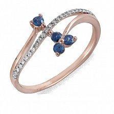 Кольцо Алиса из красного золота с бриллиантами и сапфирами