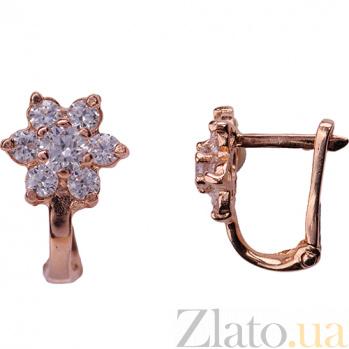 Детские золотые серьги с фианитами Цветочки 000026413
