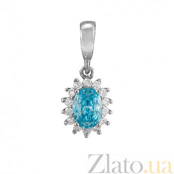 Серебряный кулон Анкария с голубым и белыми фианитами 000028855