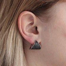 Серебряные серьги-треугольники Лада с черными фианитами