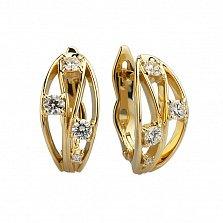Серьги из желтого золота Медея с бриллиантами