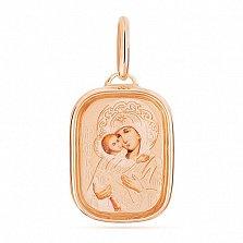 Золотая ладанка с эмалью Лик Божьей Матери