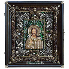 Икона Господь Вседержитель с эмалью и фианитами