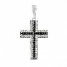 Декоративный крест с черными и белыми бриллиантами Икар