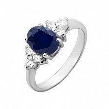 Серебряное кольцо Шарлотта с сапфиром и фианитами
