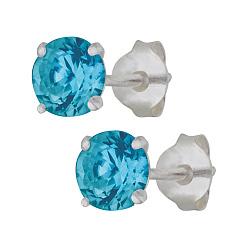 Серебряные сережки-пуссеты с голубым цирконием Эсселта