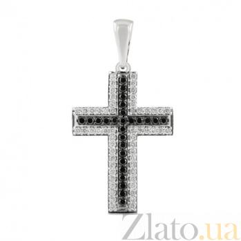 Декоративный крест с черными и белыми бриллиантами Икар KBL--П211/бел/брил_чер
