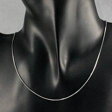 Серебряная цепочка Каролина плетения снейк
