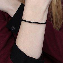 Плетеный кожаный браслет Троин с серебряной застежкой, 3мм