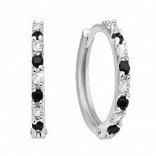 Серебряные серьги-кольца Черно-белая дорожка с фианитами