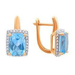 Золотые серьги в комбинированном цвете с голубыми топазами и бриллиантами 000139404