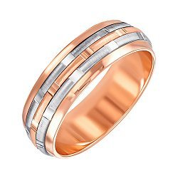 Золотое обручальноекольцо в комбинированном цвете с алмазной гранью 000123363