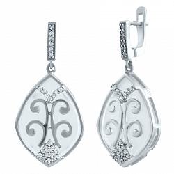 Серебряные серьги-подвески Восточная сказка с розовым кварцем и фианитами 000077684