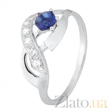 Серебряное кольцо с синим фианитом Аделхайд 000028157